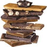 Vektorkarte mit den Schokoladen, die durch Aquarell zeichnen Lizenzfreies Stockfoto