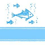 Vektorkarte mit Fischen Stockfoto