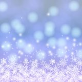 Vektorkarte mit Lichtern und Schnee Chrismas Stockbilder