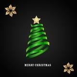 Vektorkarte mit Weihnachtsbaum Stockfotografie
