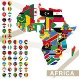 Vektorkarte von Afrika mit Flaggen lizenzfreie abbildung