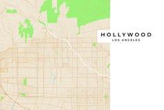 Vektorkarte von Hollywood, Los Angeles, USA lizenzfreie abbildung