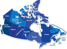 Vektorkarte von Kanada Stockbild