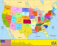Vektorkarte von USA mit Zuständen Lizenzfreie Stockfotos