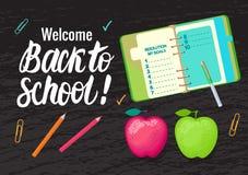 Vektorkarte Willkommen zurück zu Schule Beschriftungsaufschrift- und -schulsymbole auf schwarzem breitem Hintergrund des Kreidebr Lizenzfreie Abbildung