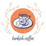 Vektorkartendesign mit traditionellem türkischem Kaffee lizenzfreie abbildung