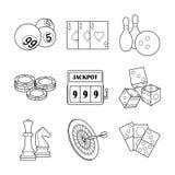 Vektorkasino- och dobblerisymboler Arkivfoto