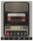 Vektorkassettenschreiberschablone mit Ikonen Stockfotografie