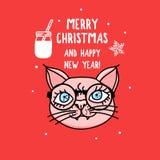 Vektorkatttecken med exponeringsglas glad jul Kort med det gulliga djura huvudet som isoleras på rött Dragen feriehand royaltyfri illustrationer