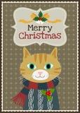 Vektorkatzencharakter-Grußkarte der frohen Weihnachten Stockfoto