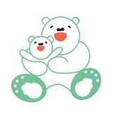 Vektorklistermärke, kort med den lyckliga modern och vit björn för barn Arkivfoto