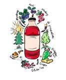 Vektorklotter som dricker flaskan med naturliga ingredienser Arkivfoto