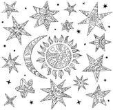 Vektorklotterbeståndsdelar av natthimlen Stjärnor, sol och måne royaltyfri illustrationer