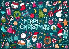 Vektorklotteruppsättning av jul och det nya året Arkivfoto