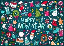Vektorklotteruppsättning av jul och det nya året Arkivfoton