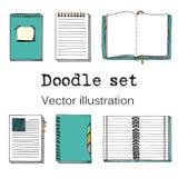 Vektorklotteruppsättning av Sketch anteckningsböcker, Notepads och dagböcker Royaltyfri Fotografi
