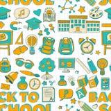 Vektorklotteruppsättning med skolaobjekt royaltyfri illustrationer