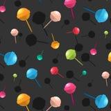 Vektorklubbamodell Textur för tecknad filmefterrättgodis Läckert tryck för färgrikt socker Lycklig barngarnering royaltyfri illustrationer