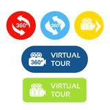 Vektorknöpfe für virtuellen Rundgang Aufkleber mit Symbol des Pfeiles und der Kamera Roter, blauer, grüner, gelber, purpurroter u stock abbildung