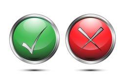 Vektorknopf-Zeichenkontrolle korrekt und falsch auf weißem Hintergrund lizenzfreie abbildung