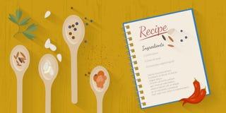 Vektorkochzeitillustration mit flachen Ikonen Neues Lebensmittel und Materialien auf Küchentisch in der flachen Art Stockfoto