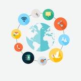 Vektorkommunikationsbegrepp - infographic designbeståndsdelar i f stock illustrationer