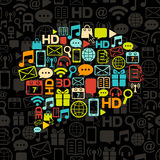 Vektorkommunikationsluftblase gebildet von den Ikonen Stockfotos