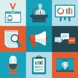 Vektorkonferenssymboler i plan stil royaltyfri illustrationer