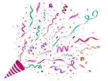 Vektorkonfettier festlig illustration Partipopcornapparat som isoleras på vit bakgrund stock illustrationer