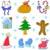 Vektorkonstillustration av juluppsättningen Arkivfoton