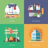 Vektorkonstruering, bransch av byggnad och utvecklingsuppsättningen för apps för rengöringsdukdesign och mobil Illustration för m Royaltyfri Fotografi