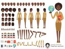 Vektorkonstruktör av det kvinnliga teckenet Afroamerican peka för lärare Olik kroppsdel- och beståndsdeluppsättning för vektor stock illustrationer