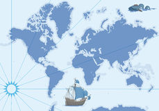Vektorkonturöversikt med skeppet och monstret vektor illustrationer