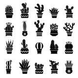 Vektorkontur av ökenväxter Monokromma illustrationer av den dekorativa kaktuns i krukor Västra symboler vektor illustrationer