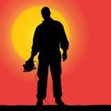 Vektorkontur av en arbetare stock illustrationer