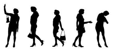 Vektorkontur av en kvinna Arkivbild