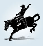 Vektorkontur av en rodeoryttare royaltyfri illustrationer
