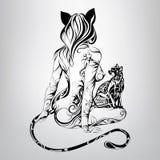 Vektorkontur av flickakatten med en svart katt i prydnaden Royaltyfri Bild