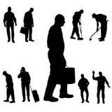 Vektorkontur av folk Fotografering för Bildbyråer