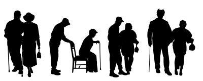 Vektorkontur av gamla människor Royaltyfri Bild
