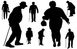Vektorkontur av gamla människor stock illustrationer
