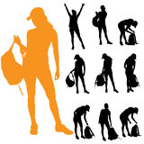 Vektorkontur av kvinnan vektor illustrationer