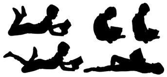 Vektorkontur av pojken stock illustrationer
