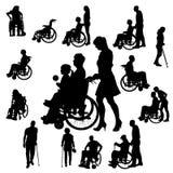 Vektorkonturer av folk i en rullstol Royaltyfria Bilder