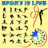 Vektorkonturer av olika sportar vektor illustrationer