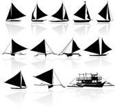Vektorkonturer av yachter stock illustrationer
