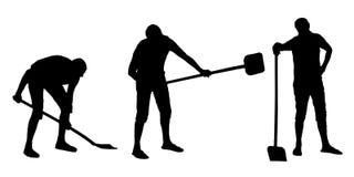 Vektorkonturuppsättning av en man som gräver med en skyffel royaltyfri illustrationer