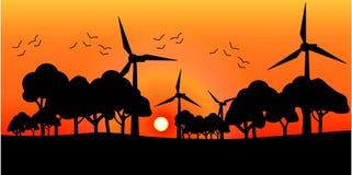 Vektorkonturväderkvarnar på solnedgången royaltyfri bild