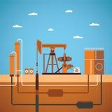 Vektorkonzept der ausgerüsteten Ölquelle lizenzfreie abbildung