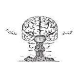 Vektorkonzept der Kreativität mit menschlichem Gehirn Stockbild